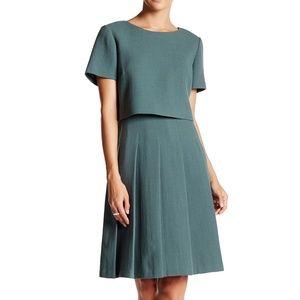 Lafayette 148 Ella Dress Pleated Overlay Green NWT